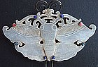 White Jade Butterfly Silver Hairpin