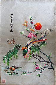 Chinese Silk Embroidery Birds Textile Artwork Handmade Item 850364