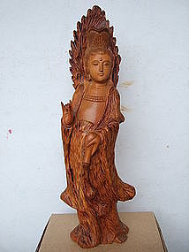 Wood Carving Of Quan Yin Statue