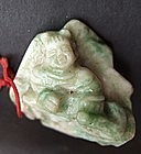 Jade Carving of A Boy with Lotus Leave