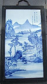 Chinese Blue & White Landscape Painting Panel