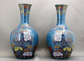 Pair of unusual Koransha porcelain vases