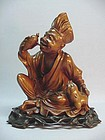 "CHINESE BOX WOOD CARVED ""JI GONG"" STATUE"
