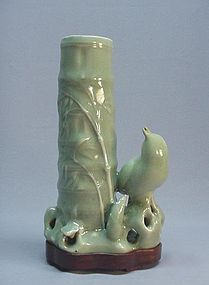 CHINESE CELADON BIRD AND BAMBOO VASE