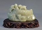 EARLY 20TH C. CHINESE JADE CARVING OF THREE GOATS