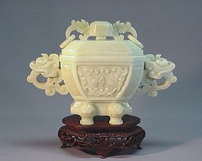 CHINESE CELADON JADE CARVING OF A DING VESSEL