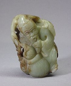CHINESE JADE (NEPHRITE) CARVING OF A FISHERMAN