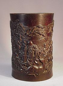 CHINESE CARVED ZITAN BITONG (BRUSH HOLDER)