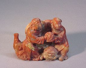 CHINESE OLD STONE CARVING OF TWO YOUNG IMMORTALS