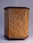 CHINESE CARVED BAMBOO HEXAGONAL BRUSH HOLDER