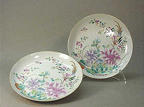 CHINESE QING DYNASTY FAMILLE ROSE PLATES
