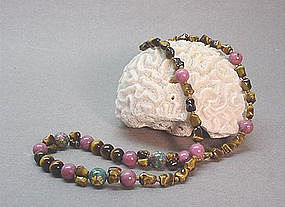 CHINESE CLOISONNE AND HARD STONE NECKLACE