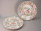 PR. CHINESE FAMILLE ROSE MILLE FLEURES PLATES