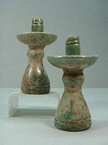 Pair of Chinese Han Small Candle Holders