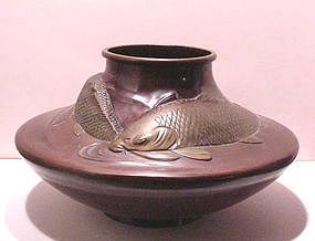 Japanese Two Color tone Bronze Vase