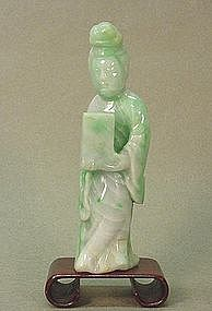 CHINESE CARVED JADEITE LADY HOLDING A BOX