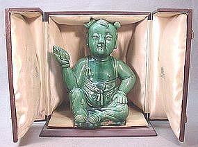 19TH C. CHINESE CERAMIC STATUE OF A BOY
