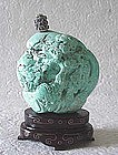 CHINESE CARVED LARGE TURQUOISE SNUFF BOTTLE