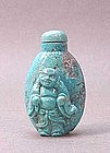 CHINESE CARVED TURQUOISE SNUFF BOTTLE