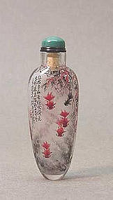 CHINESE GOLD HAIR CRYSTAL SNUFF BOTTLE