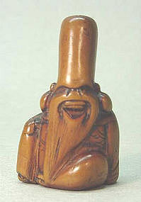 18TH C. JAPANESE WOOD NETSUKE OF FUKUROKUJU