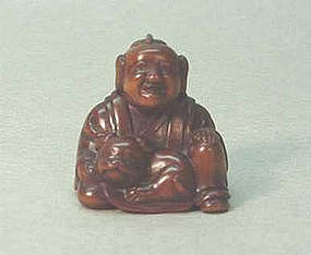19TH C. JAPANESE WOOD NETSUKE OF KARAKO