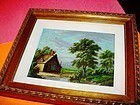 19thC Country Scene~ Oil on Copper
