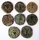 A COLLECTION OF 8 BYZANTINE BRONZE FOLLES