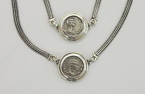 TWO SILVER COINS OF JULIA DOMNA IN BRACELET AND NECKLAC
