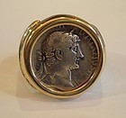 A SILVER DENARIUS OF HADRIAN IN A 14K GOLD SETTING