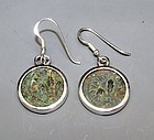 TWO BRONZE PRUTAH OF PONTIUS PILATE WITH SIMPULUM IN SILVER EARRINGS