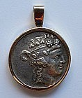 Greek Silver Coin with Herakles & Dionysos Set in 18K G