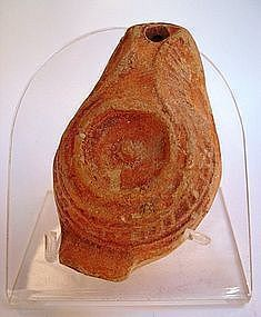 A JEWISH SAMARITAN TERRACOTTA OIL LAMP