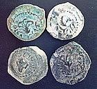 FOUR JEWISH BRONZE PRUTOT OF ALEXANDER JANNAEUS