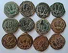 LOT OF 12 BRONZE PRUTOT ISSUED UNDER HEROD AGRIPPA I
