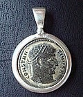 Constantine I the Great Bronze Coin in Silver Pendant