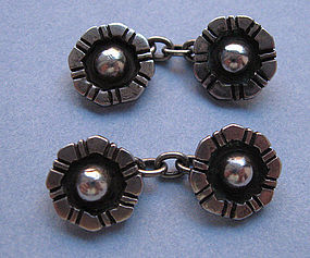 Pair Sterling Rosette Cuff Links, c. 1920