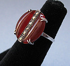 Art Deco Carnelian and Sterling Marcasite Ring, c. 1925