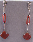 Art Deco Carnelian Pendant Earrings, c. 1925