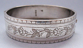 Victorian Sterling Engraved Hinged Bangle, 1884