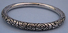 American Sterling Chased Bangle, c. 1895