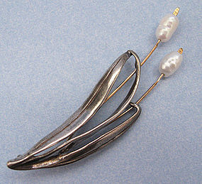 Handmade Sterling and Pearl Cattails Pin, 1993