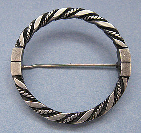 Georg Jensen Circle Pin, Rope Design, c. 1960