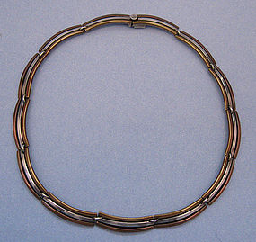 Mexican Three-Color Sterling Necklace, c. 1955