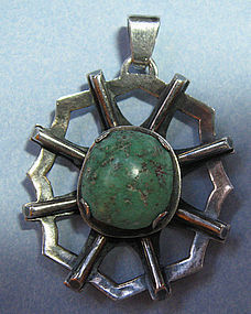 Israeli Sterling and Turquoise Pendant, c. 1960