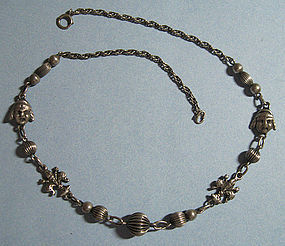 European Sterling Necklace, Peruzzi Style, c. 1955