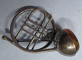 Silver and Amber French Horn Pin, c. 1965