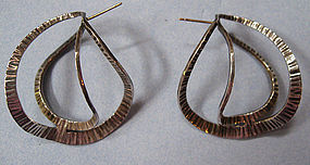 Handmade Abstract Sterling Earrings, 1987
