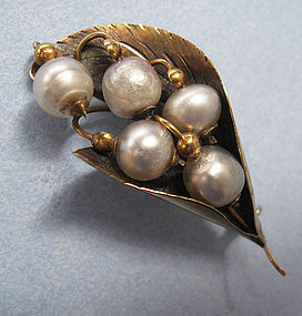 Gold and Pearl Lily-of-the-Valley Pin, c. 1900