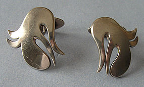 Danish Abstract Sterling Cuff Links, c. 1960